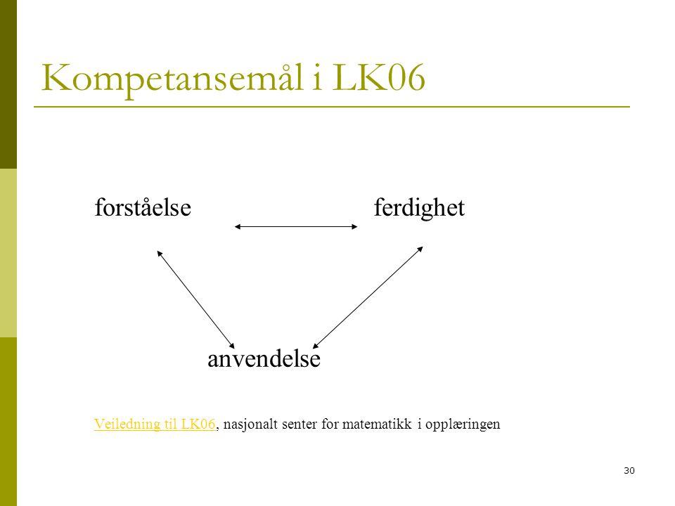30 Kompetansemål i LK06 forståelse ferdighet anvendelse Veiledning til LK06Veiledning til LK06, nasjonalt senter for matematikk i opplæringen