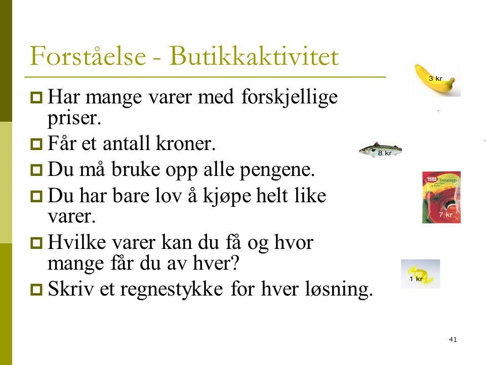41 Forståelse - Butikkaktivitet  Har mange varer med forskjellige priser.