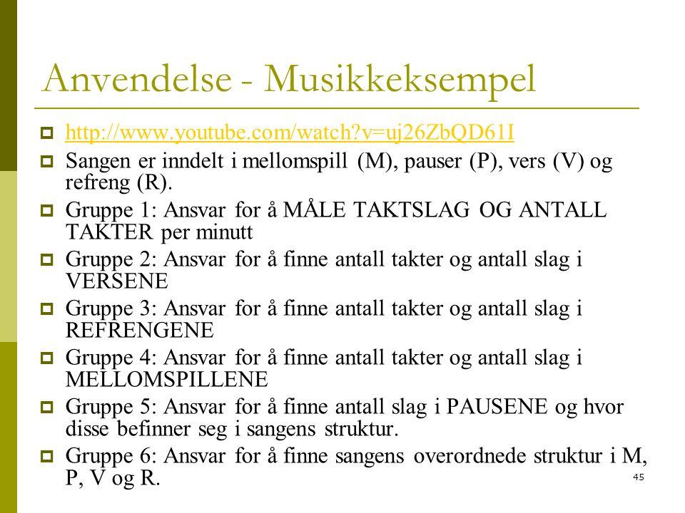 45 Anvendelse - Musikkeksempel  http://www.youtube.com/watch?v=uj26ZbQD61I http://www.youtube.com/watch?v=uj26ZbQD61I  Sangen er inndelt i mellomspill (M), pauser (P), vers (V) og refreng (R).