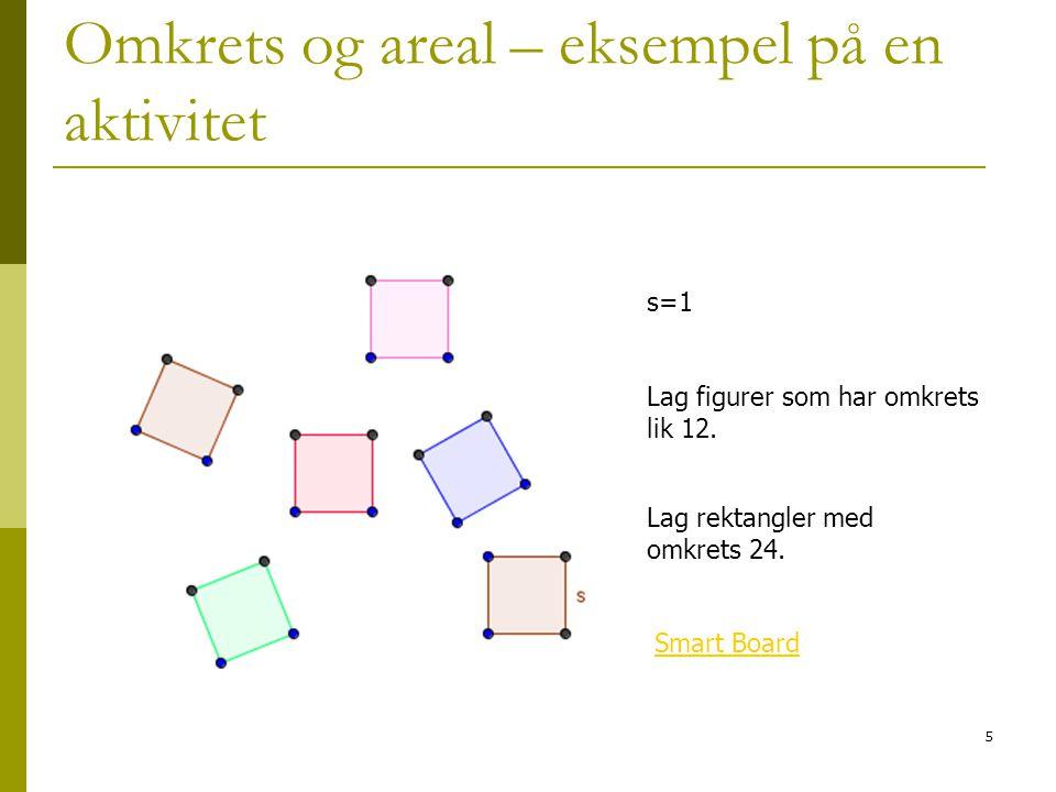 5 Omkrets og areal – eksempel på en aktivitet s=1 Lag figurer som har omkrets lik 12. Smart Board Lag rektangler med omkrets 24.