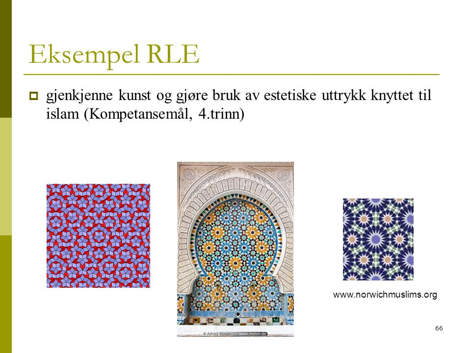 66 Eksempel RLE  gjenkjenne kunst og gjøre bruk av estetiske uttrykk knyttet til islam (Kompetansemål, 4.trinn) www.norwichmuslims.org