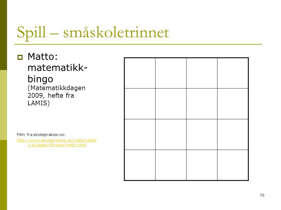 70 Spill – småskoletrinnet  Matto: matematikk- bingo (Matematikkdagen 2009, hefte fra LAMIS) Film fra skoleipraksis.no: http://www.skoleipraksis.no/m