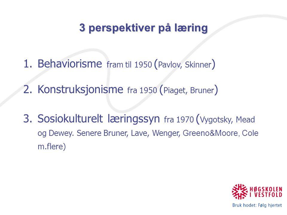 1.Behaviorisme fram til 1950 ( Pavlov, Skinner ) 2.Konstruksjonisme fra 1950 ( Piaget, Bruner ) 3.Sosiokulturelt læringssyn fra 1970 ( Vygotsky, Mead
