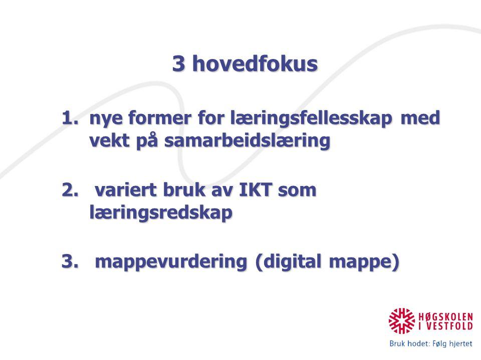 IKT og nye læreprosesser 3 hovedfokus 1.nye former for læringsfellesskap med vekt på samarbeidslæring 2. variert bruk av IKT som læringsredskap 3. map