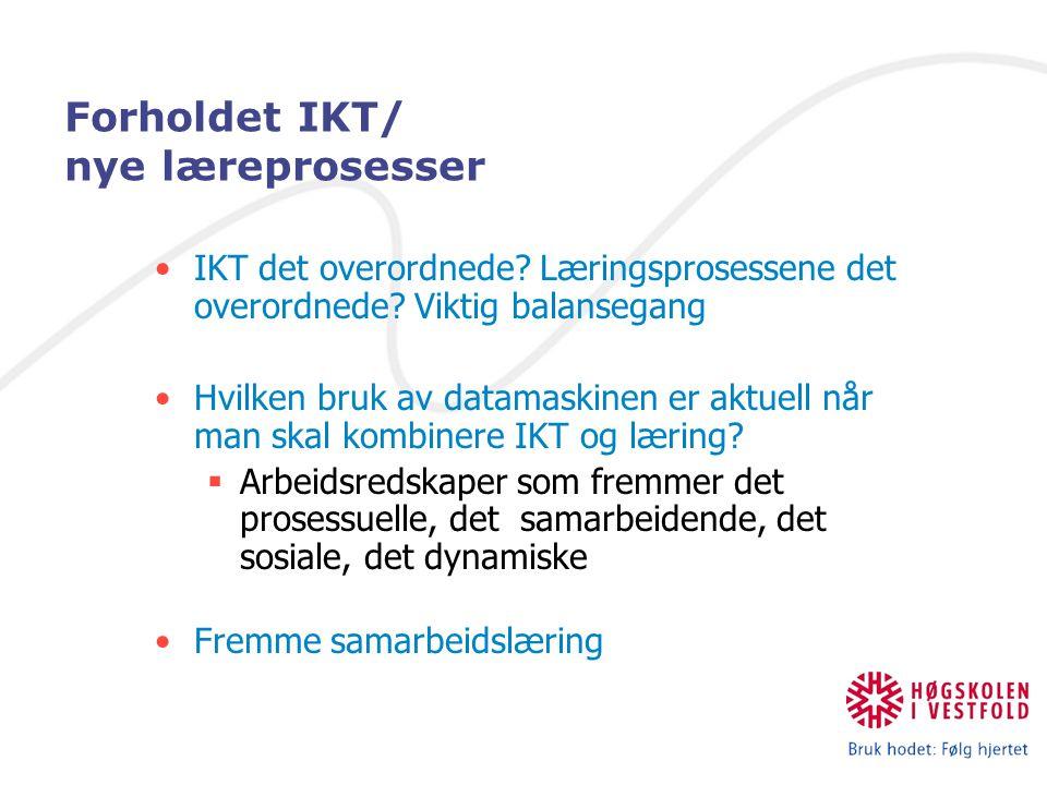 Forholdet IKT/ nye læreprosesser IKT det overordnede? Læringsprosessene det overordnede? Viktig balansegang Hvilken bruk av datamaskinen er aktuell nå