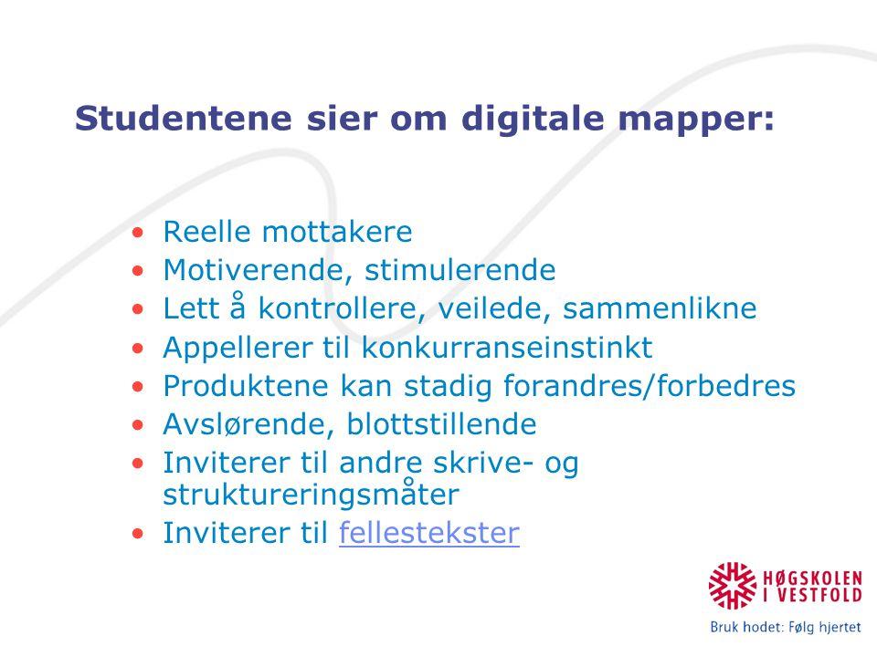Studentene sier om digitale mapper: Reelle mottakere Motiverende, stimulerende Lett å kontrollere, veilede, sammenlikne Appellerer til konkurranseinst