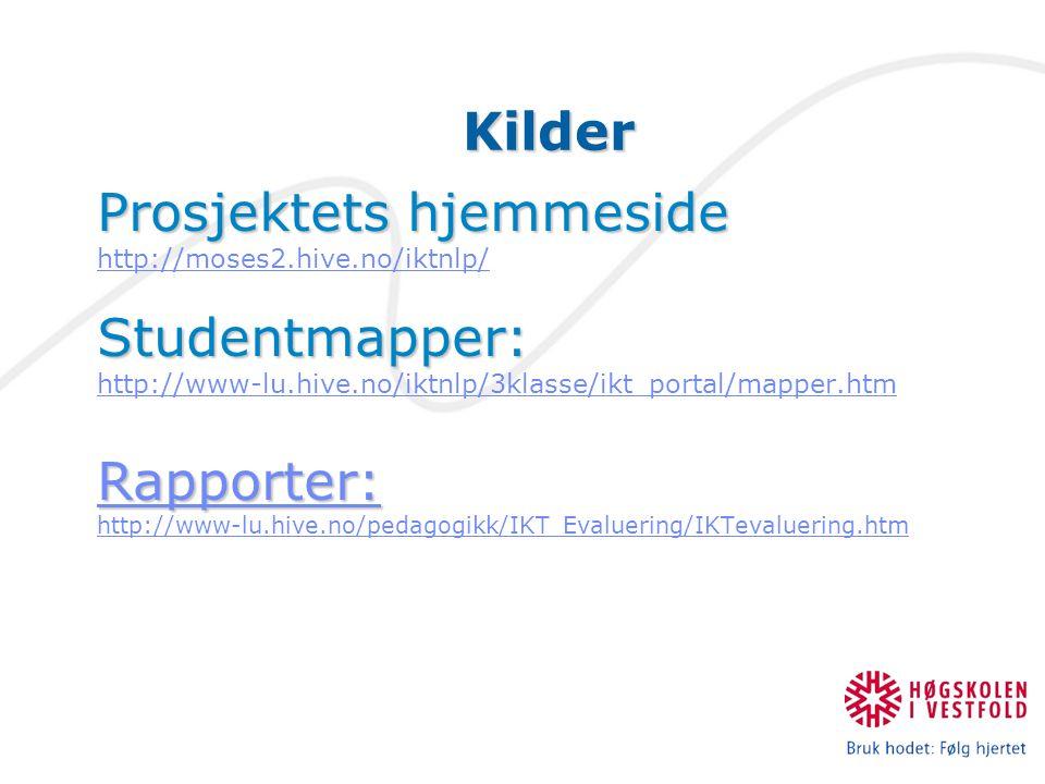 Kilder Prosjektets hjemmeside http://moses2.hive.no/iktnlp/Studentmapper: http://www-lu.hive.no/iktnlp/3klasse/ikt_portal/mapper.htm Rapporter: http://www-lu.hive.no/pedagogikk/IKT Evaluering/IKTevaluering.htm