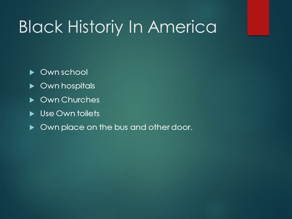 Black Historiy In America  Own school  Own hospitals  Own Churches  Use Own toilets  Own place on the bus and other door.