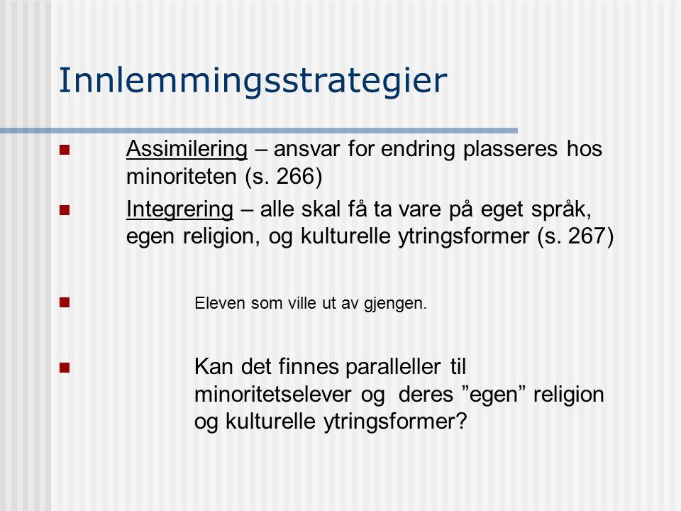 Innlemmingsstrategier Assimilering – ansvar for endring plasseres hos minoriteten (s. 266) Integrering – alle skal få ta vare på eget språk, egen reli