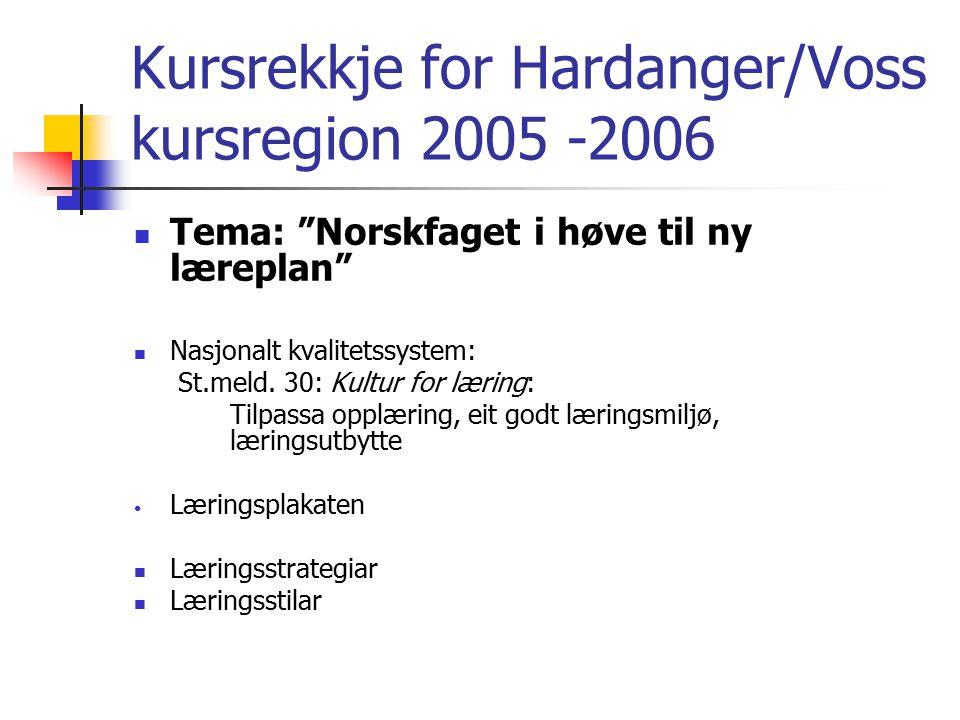 Kursrekkje for Hardanger/Voss kursregion 2005 -2006 Tema: Norskfaget i høve til ny læreplan Nasjonalt kvalitetssystem: St.meld.