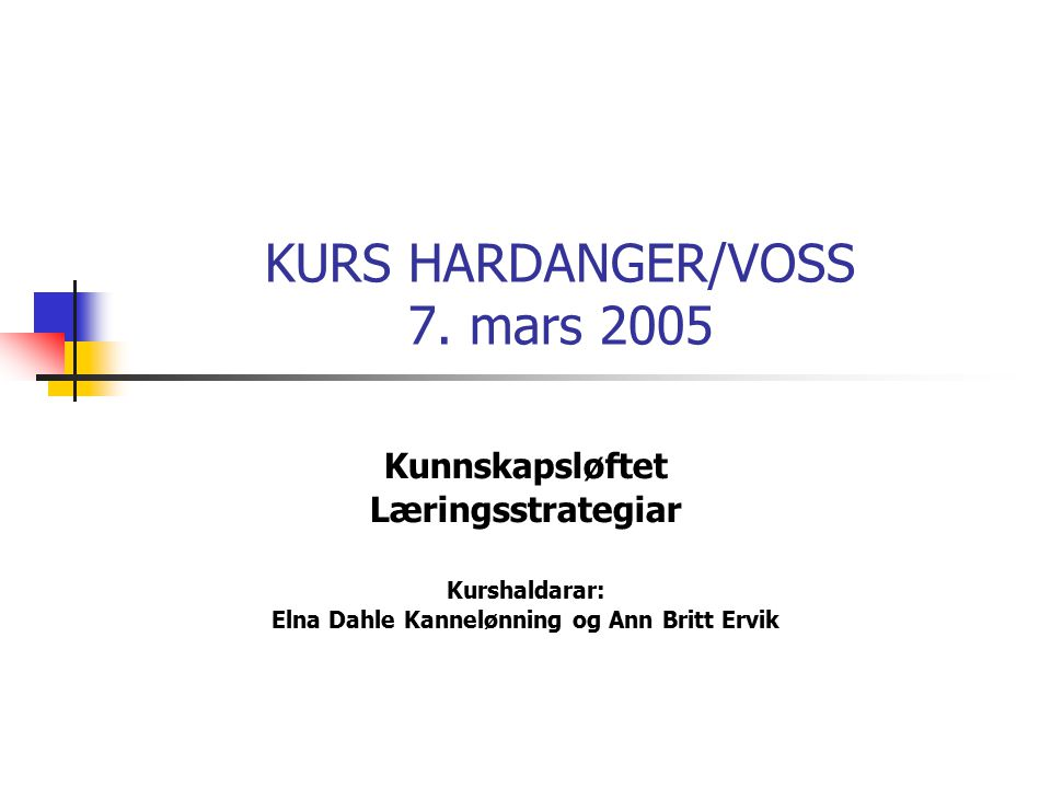 KURS HARDANGER/VOSS 7.