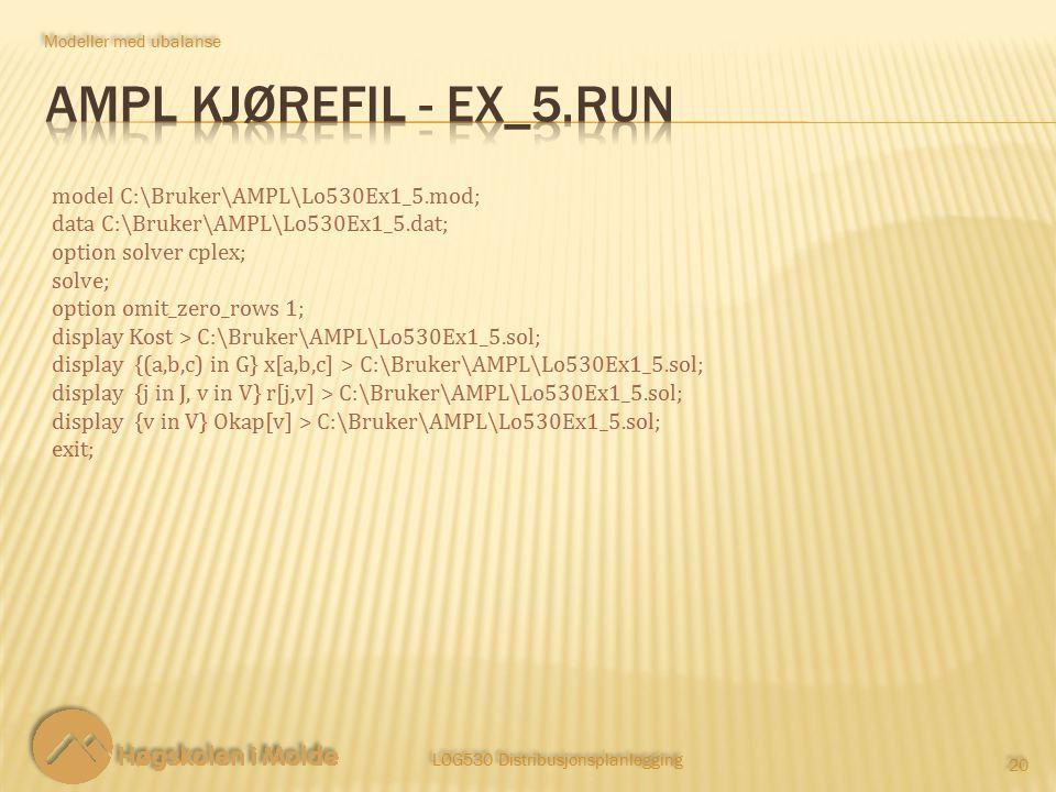 LOG530 Distribusjonsplanlegging 20 Modeller med ubalanse model C:\Bruker\AMPL\Lo530Ex1_5.mod; data C:\Bruker\AMPL\Lo530Ex1_5.dat; option solver cplex; solve; option omit_zero_rows 1; display Kost > C:\Bruker\AMPL\Lo530Ex1_5.sol; display {(a,b,c) in G} x[a,b,c] > C:\Bruker\AMPL\Lo530Ex1_5.sol; display {j in J, v in V} r[j,v] > C:\Bruker\AMPL\Lo530Ex1_5.sol; display {v in V} Okap[v] > C:\Bruker\AMPL\Lo530Ex1_5.sol; exit;