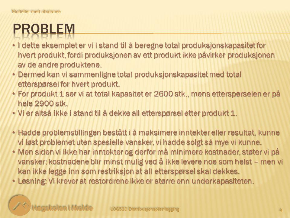 LOG530 Distribusjonsplanlegging 4 4 I dette eksemplet er vi i stand til å beregne total produksjonskapasitet for hvert produkt, fordi produksjonen av ett produkt ikke påvirker produksjonen av de andre produktene.