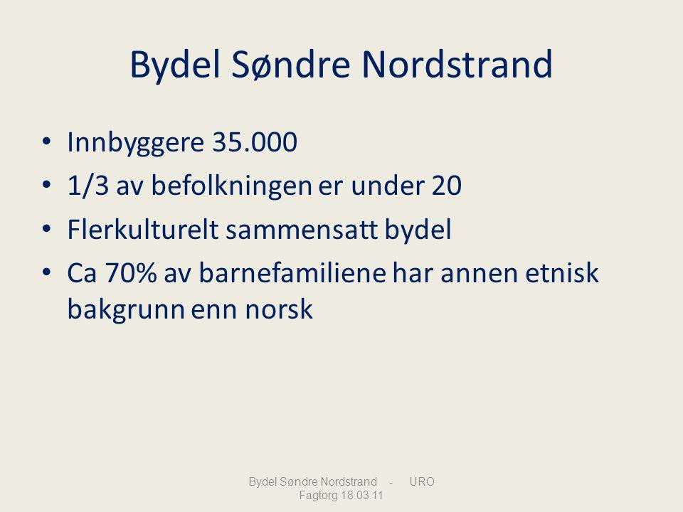 Bydel Søndre Nordstrand Innbyggere 35.000 1/3 av befolkningen er under 20 Flerkulturelt sammensatt bydel Ca 70% av barnefamiliene har annen etnisk bak