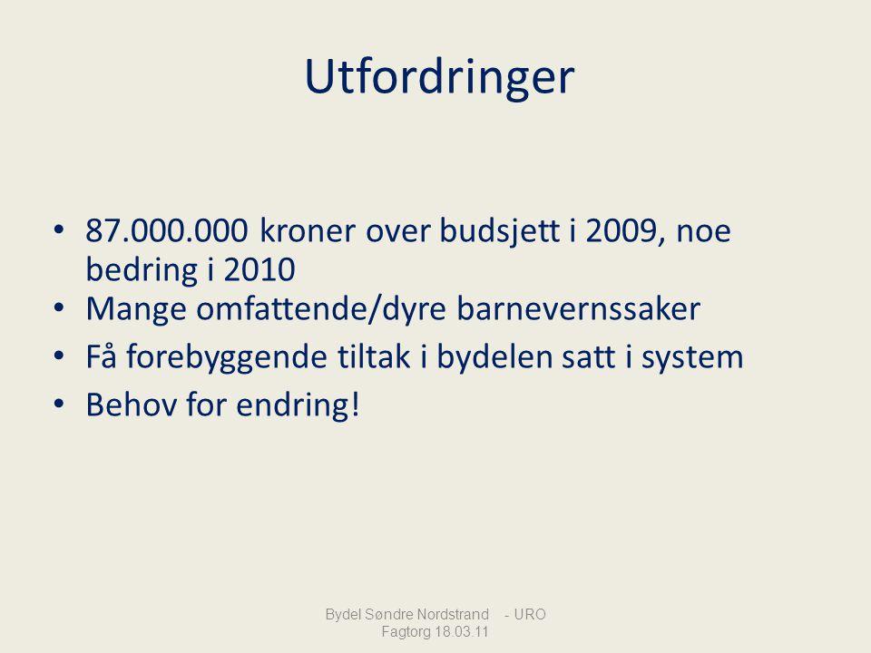 Utfordringer 87.000.000 kroner over budsjett i 2009, noe bedring i 2010 Mange omfattende/dyre barnevernssaker Få forebyggende tiltak i bydelen satt i
