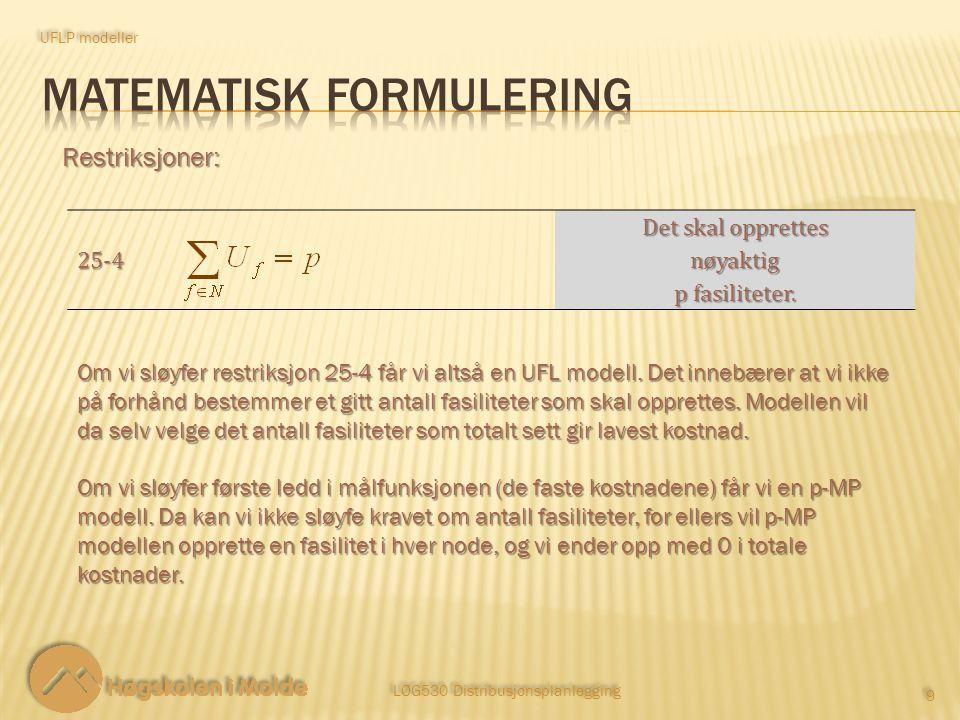 LOG530 Distribusjonsplanlegging 9 9 Restriksjoner: UFLP modeller 25 ‑ 4 Det skal opprettes nøyaktig p fasiliteter.