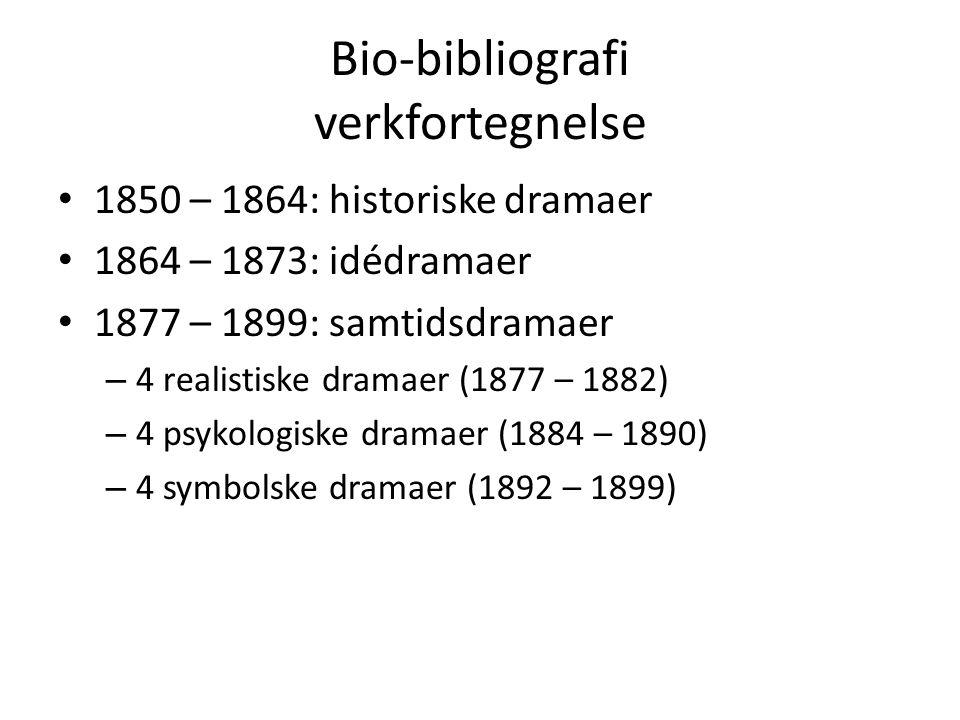 Bio-bibliografi verkfortegnelse 1850 – 1864: historiske dramaer 1864 – 1873: idédramaer 1877 – 1899: samtidsdramaer – 4 realistiske dramaer (1877 – 1882) – 4 psykologiske dramaer (1884 – 1890) – 4 symbolske dramaer (1892 – 1899)