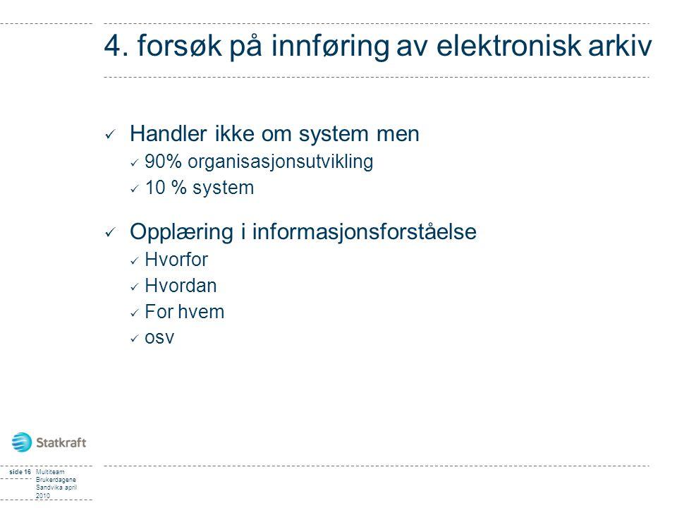 side 16Multiteam Brukerdagene Sandvika april 2010 4. forsøk på innføring av elektronisk arkiv Handler ikke om system men 90% organisasjonsutvikling 10
