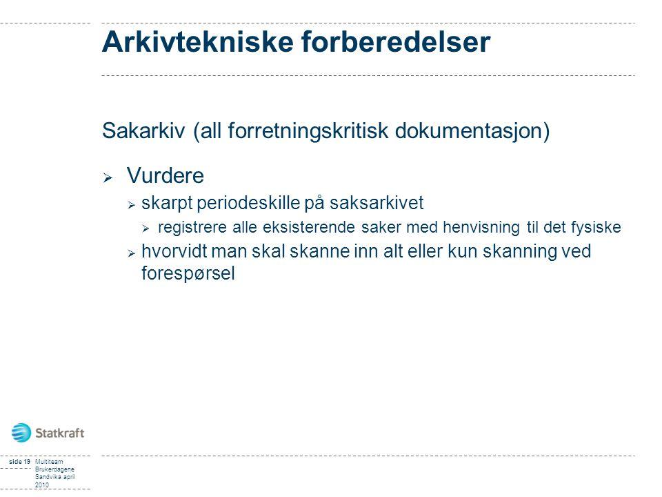 Arkivtekniske forberedelser Sakarkiv (all forretningskritisk dokumentasjon)  Vurdere  skarpt periodeskille på saksarkivet  registrere alle eksister