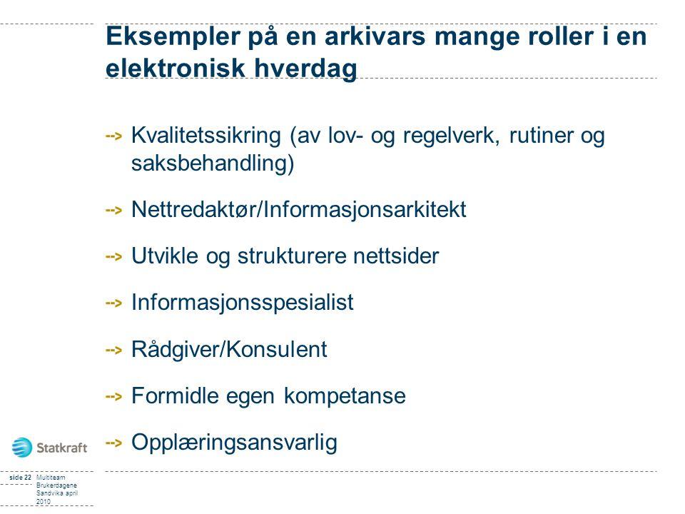 side 22Multiteam Brukerdagene Sandvika april 2010 Eksempler på en arkivars mange roller i en elektronisk hverdag Kvalitetssikring (av lov- og regelver