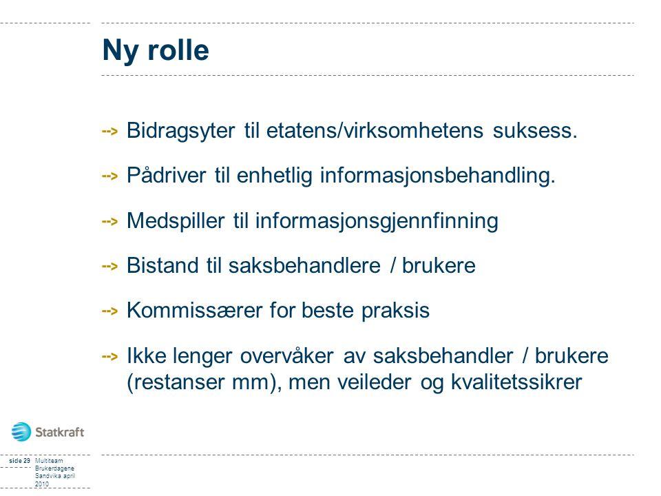 side 29Multiteam Brukerdagene Sandvika april 2010 Ny rolle Bidragsyter til etatens/virksomhetens suksess. Pådriver til enhetlig informasjonsbehandling