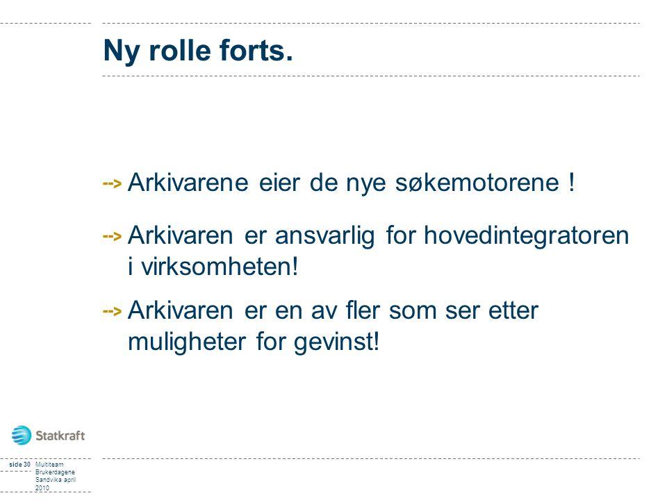 side 30Multiteam Brukerdagene Sandvika april 2010 Ny rolle forts. Arkivarene eier de nye søkemotorene ! Arkivaren er ansvarlig for hovedintegratoren i