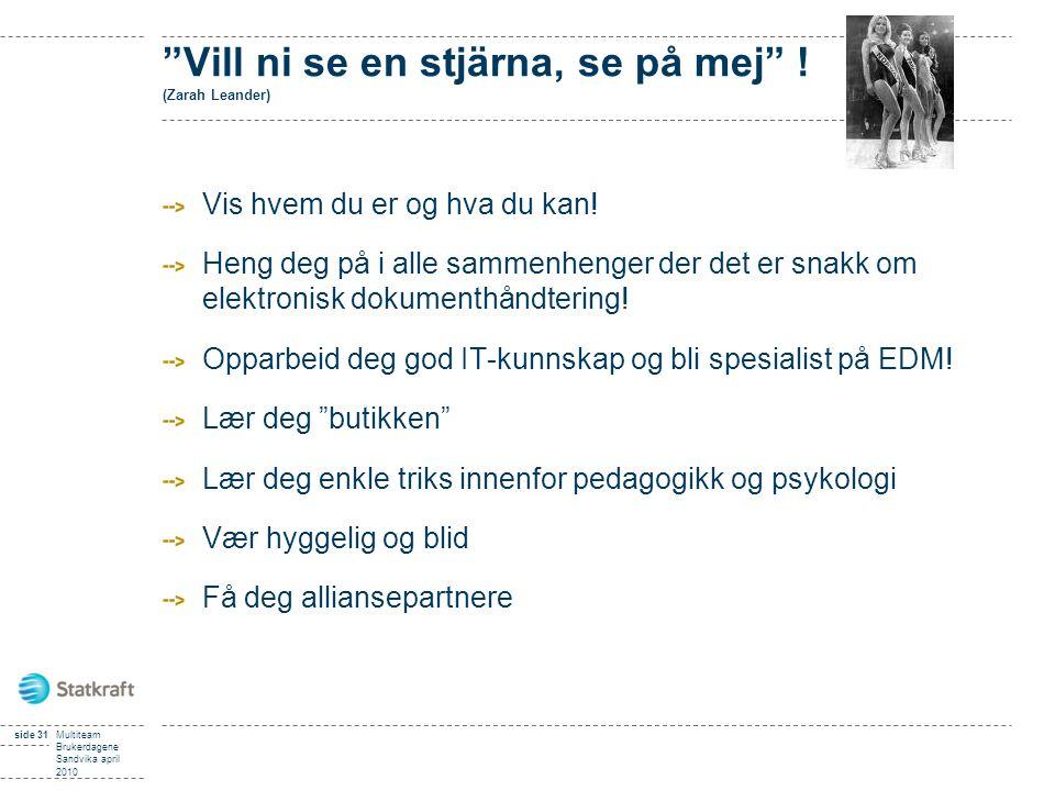 """side 31Multiteam Brukerdagene Sandvika april 2010 """"Vill ni se en stjärna, se på mej"""" ! (Zarah Leander) Vis hvem du er og hva du kan! Heng deg på i all"""