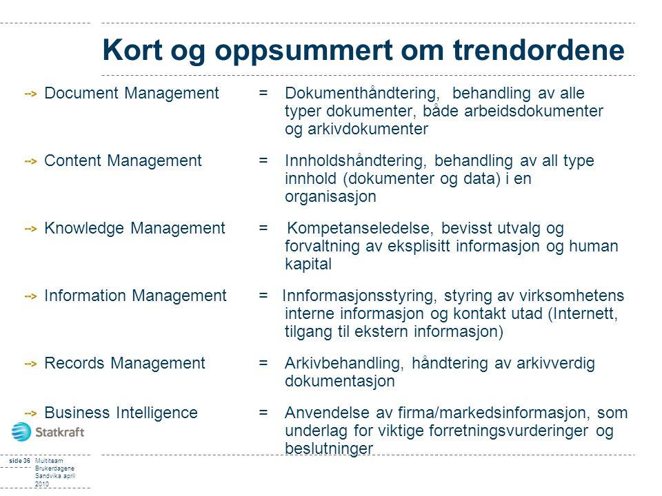 side 36Multiteam Brukerdagene Sandvika april 2010 Kort og oppsummert om trendordene Document Management =Dokumenthåndtering, behandling av alle typer