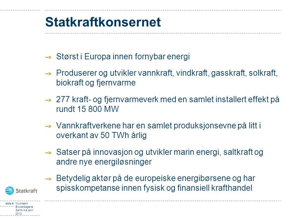 Statkraftkonsernet Størst i Europa innen fornybar energi Produserer og utvikler vannkraft, vindkraft, gasskraft, solkraft, biokraft og fjernvarme 277 kraft- og fjernvarmeverk med en samlet installert effekt på rundt 15 800 MW Vannkraftverkene har en samlet produksjonsevne på litt i overkant av 50 TWh årlig Satser på innovasjon og utvikler marin energi, saltkraft og andre nye energiløsninger Betydelig aktør på de europeiske energibørsene og har spisskompetanse innen fysisk og finansiell krafthandel side 4Multiteam Brukerdagene Sandvika april 2010