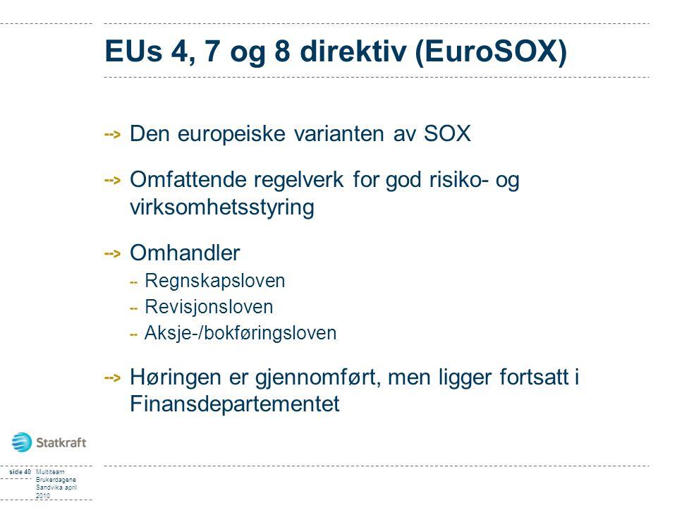 EUs 4, 7 og 8 direktiv (EuroSOX) Den europeiske varianten av SOX Omfattende regelverk for god risiko- og virksomhetsstyring Omhandler Regnskapsloven Revisjonsloven Aksje-/bokføringsloven Høringen er gjennomført, men ligger fortsatt i Finansdepartementet side 40Multiteam Brukerdagene Sandvika april 2010