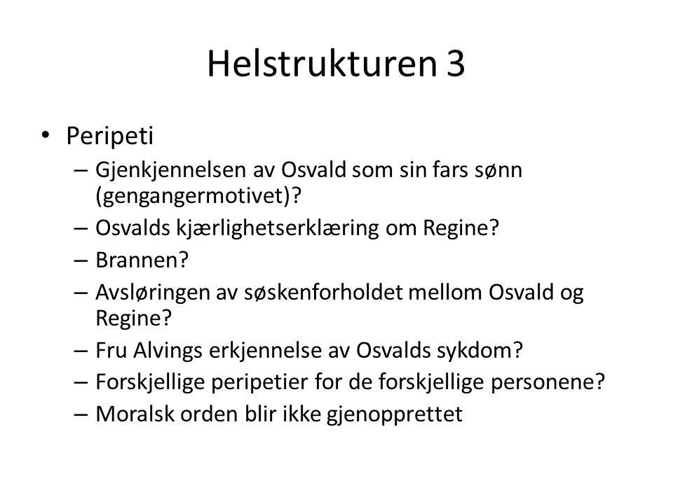 Helstrukturen 3 Peripeti – Gjenkjennelsen av Osvald som sin fars sønn (gengangermotivet)? – Osvalds kjærlighetserklæring om Regine? – Brannen? – Avslø