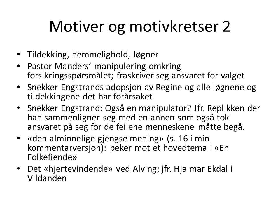 Motiver og motivkretser 2 Tildekking, hemmelighold, løgner Pastor Manders' manipulering omkring forsikringsspørsmålet; fraskriver seg ansvaret for val