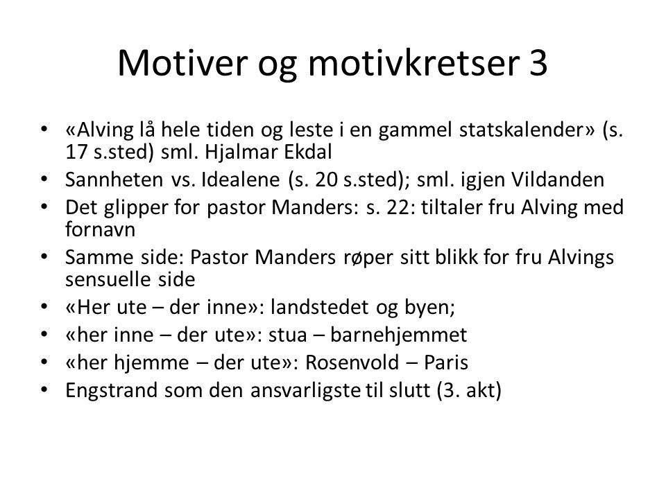 Motiver og motivkretser 3 «Alving lå hele tiden og leste i en gammel statskalender» (s. 17 s.sted) sml. Hjalmar Ekdal Sannheten vs. Idealene (s. 20 s.