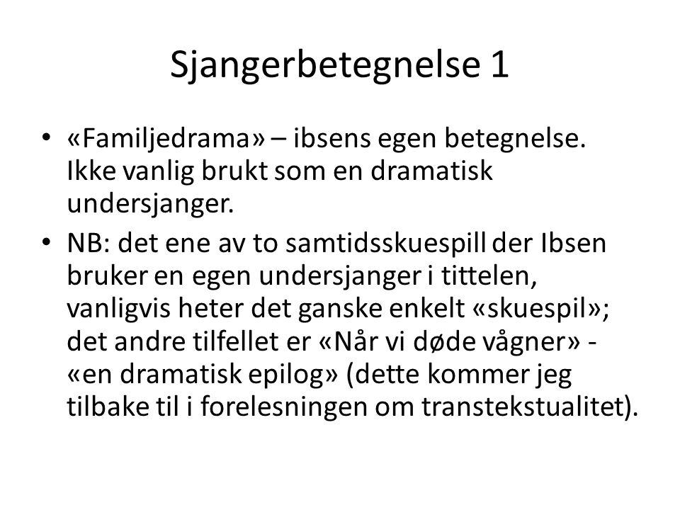 Sjangerbetegnelse 1 «Familjedrama» – ibsens egen betegnelse. Ikke vanlig brukt som en dramatisk undersjanger. NB: det ene av to samtidsskuespill der I