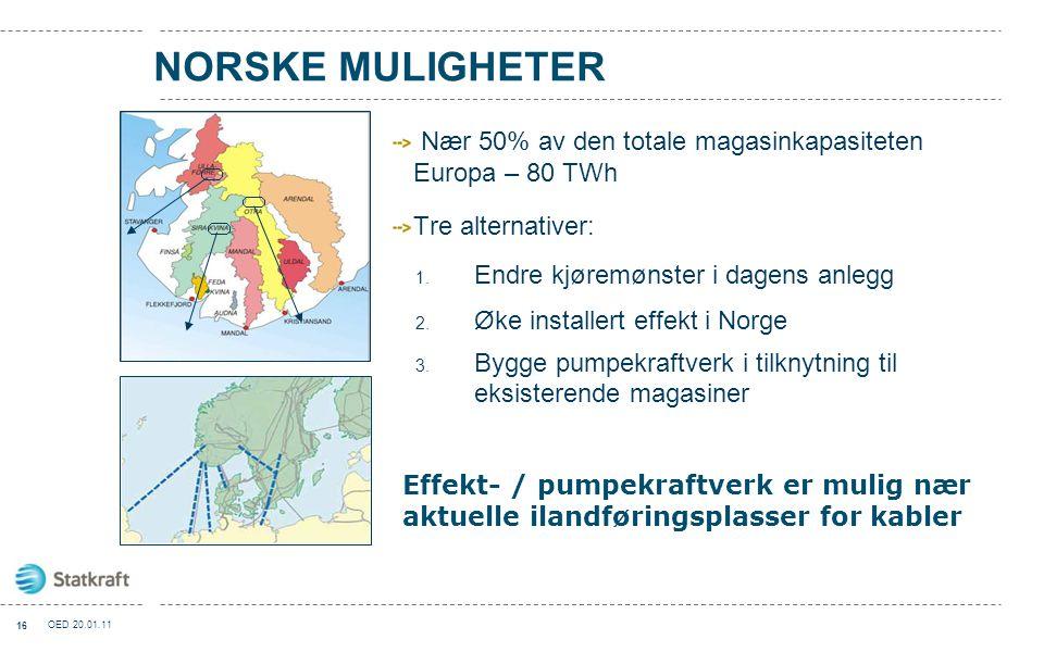 NORSKE MULIGHETER Nær 50% av den totale magasinkapasiteten Europa – 80 TWh Tre alternativer: 1. Endre kjøremønster i dagens anlegg 2. Øke installert e