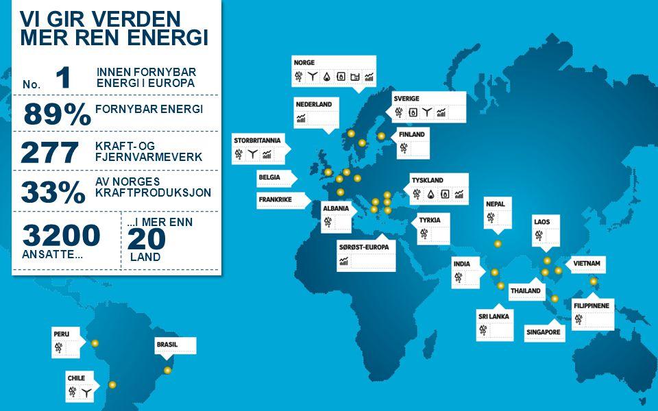 VI GIR VERDEN MER REN ENERGI VI GIR VERDEN MER REN ENERGI 3200 ANSATTE... 89% 277 KRAFT- OG FJERNVARMEVERK 33% AV NORGES KRAFTPRODUKSJON FORNYBAR ENER