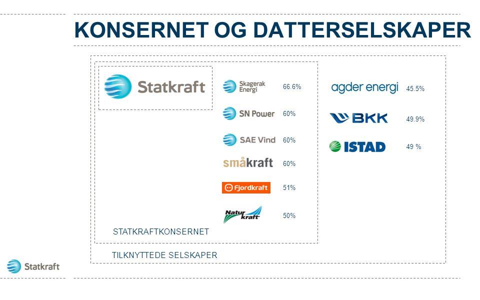 KONSERNET OG DATTERSELSKAPER TILKNYTTEDE SELSKAPER 45.5% 49.9% 60% 51% 50% STATKRAFTKONSERNET 66.6% 60% 49 %