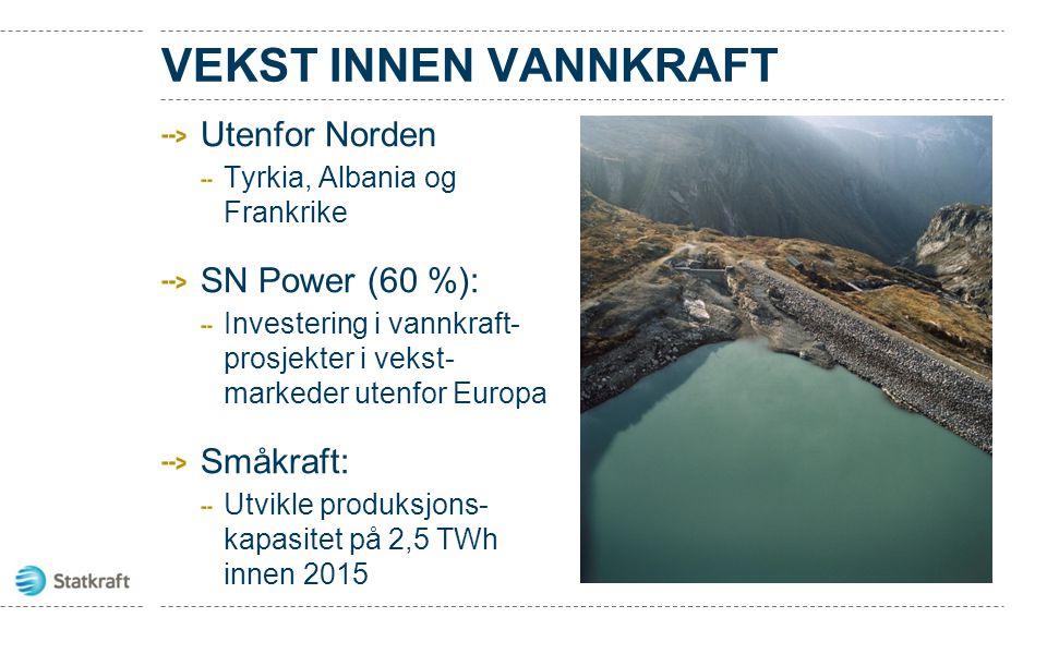 VEKST INNEN VANNKRAFT Utenfor Norden Tyrkia, Albania og Frankrike SN Power (60 %): Investering i vannkraft- prosjekter i vekst- markeder utenfor Europ