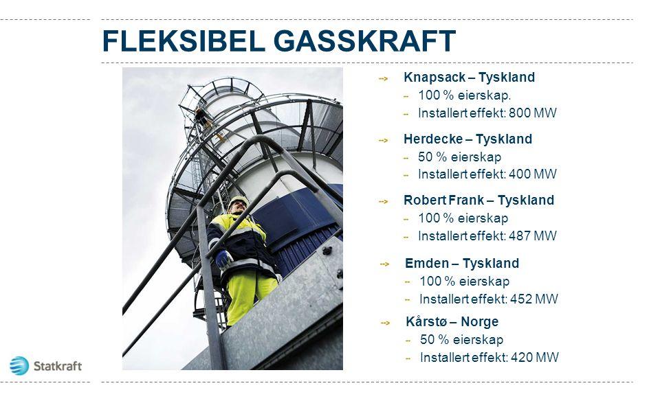 FLEKSIBEL GASSKRAFT Knapsack – Tyskland 100 % eierskap. Installert effekt: 800 MW Herdecke – Tyskland 50 % eierskap Installert effekt: 400 MW Robert F