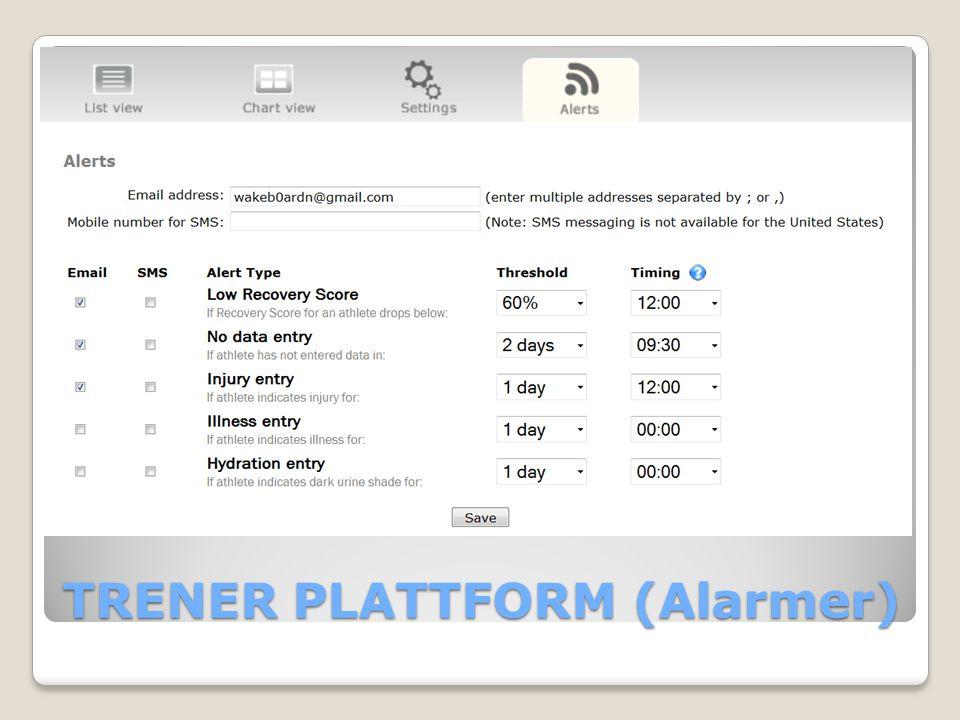 TRENER PLATTFORM (Alarmer)