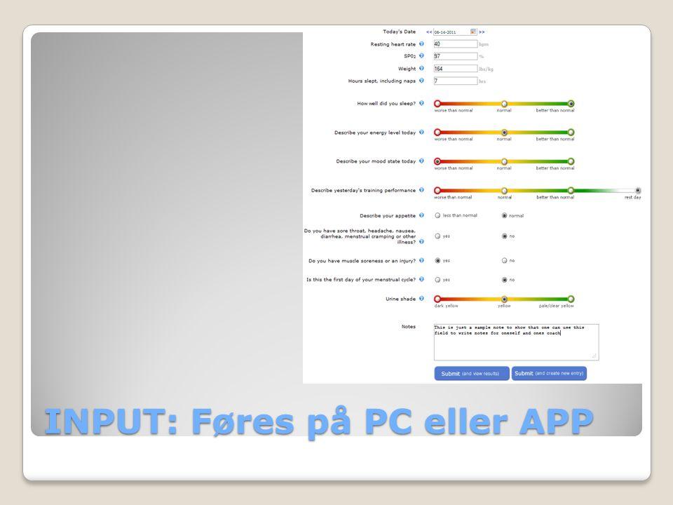 INPUT: Føres på PC eller APP