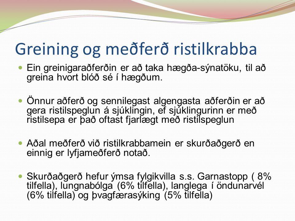 Greining og meðferð ristilkrabba Ein greinigaraðferðin er að taka hægða-sýnatöku, til að greina hvort blóð sé í hægðum.