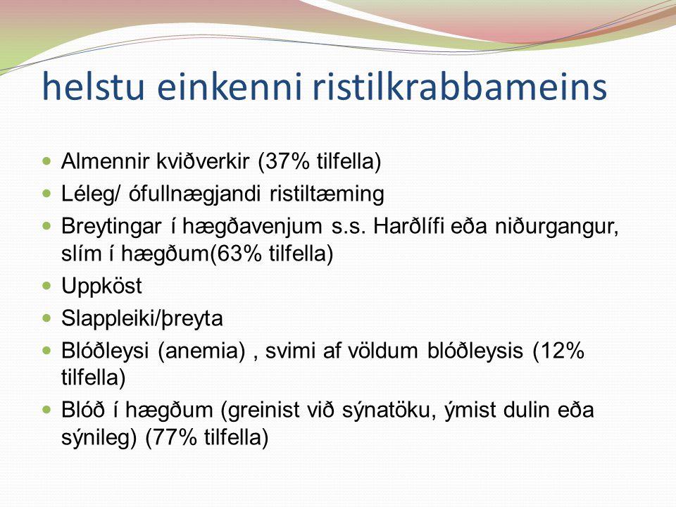 helstu einkenni ristilkrabbameins Almennir kviðverkir (37% tilfella) Léleg/ ófullnægjandi ristiltæming Breytingar í hægðavenjum s.s.