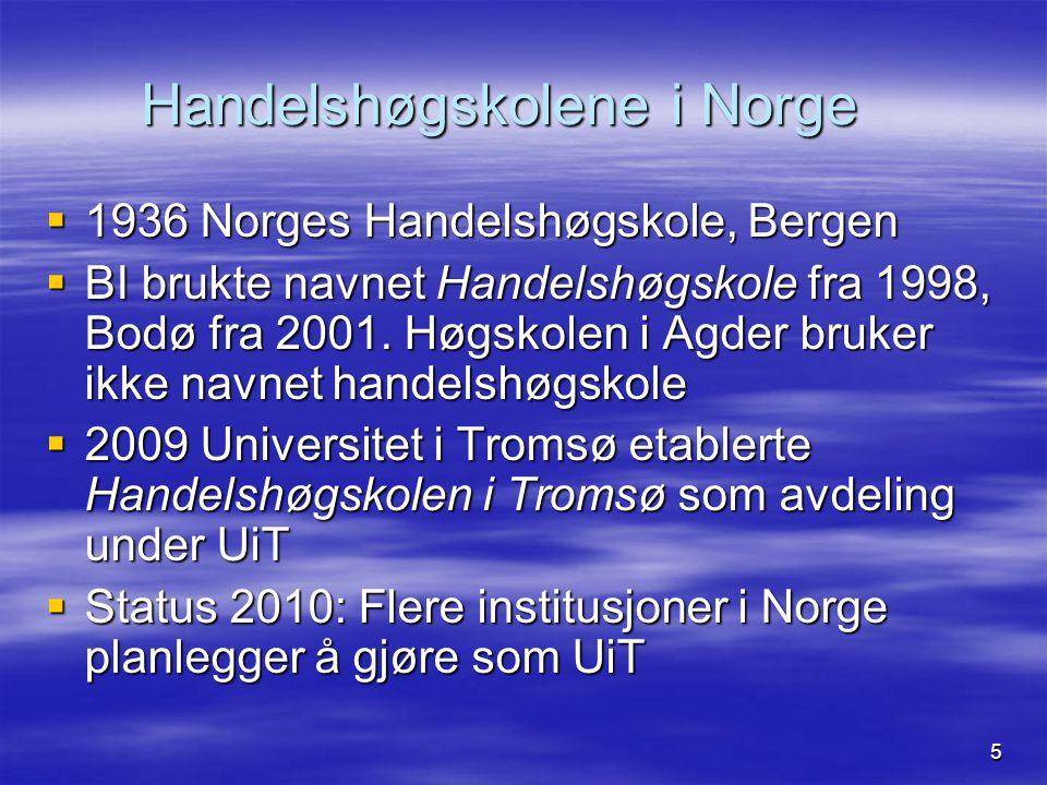 5 Handelshøgskolene i Norge  1936 Norges Handelshøgskole, Bergen  BI brukte navnet Handelshøgskole fra 1998, Bodø fra 2001. Høgskolen i Agder bruker