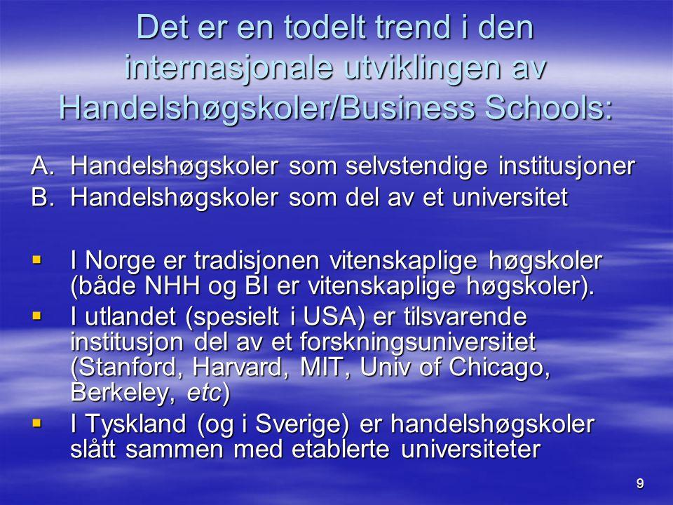 9 Det er en todelt trend i den internasjonale utviklingen av Handelshøgskoler/Business Schools: A.Handelshøgskoler som selvstendige institusjoner B.Handelshøgskoler som del av et universitet  I Norge er tradisjonen vitenskaplige høgskoler (både NHH og BI er vitenskaplige høgskoler).