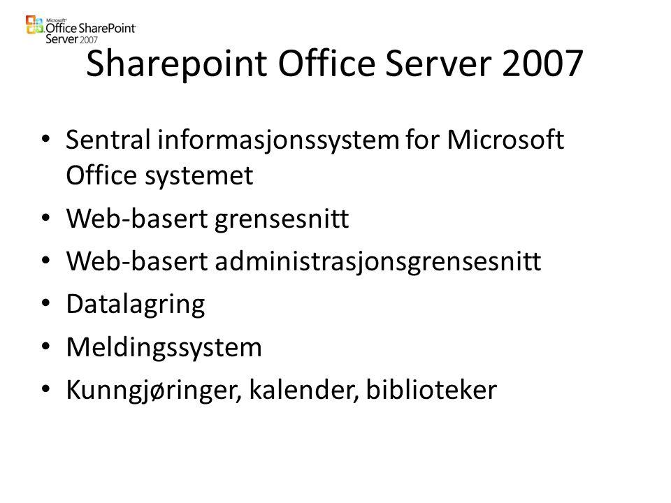 Sharepoint Office Server 2007 Sentral informasjonssystem for Microsoft Office systemet Web-basert grensesnitt Web-basert administrasjonsgrensesnitt Datalagring Meldingssystem Kunngjøringer, kalender, biblioteker