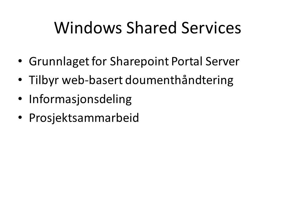 Windows Shared Services Grunnlaget for Sharepoint Portal Server Tilbyr web-basert doumenthåndtering Informasjonsdeling Prosjektsammarbeid