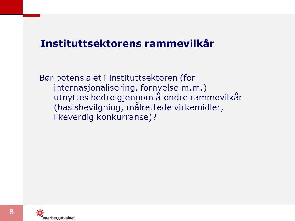 8 Instituttsektorens rammevilkår Bør potensialet i instituttsektoren (for internasjonalisering, fornyelse m.m.) utnyttes bedre gjennom å endre rammevilkår (basisbevilgning, målrettede virkemidler, likeverdig konkurranse)?