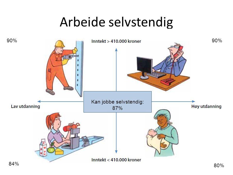Arbeide selvstendig 90% 80% 84% 90% Kan jobbe selvstendig: 87%