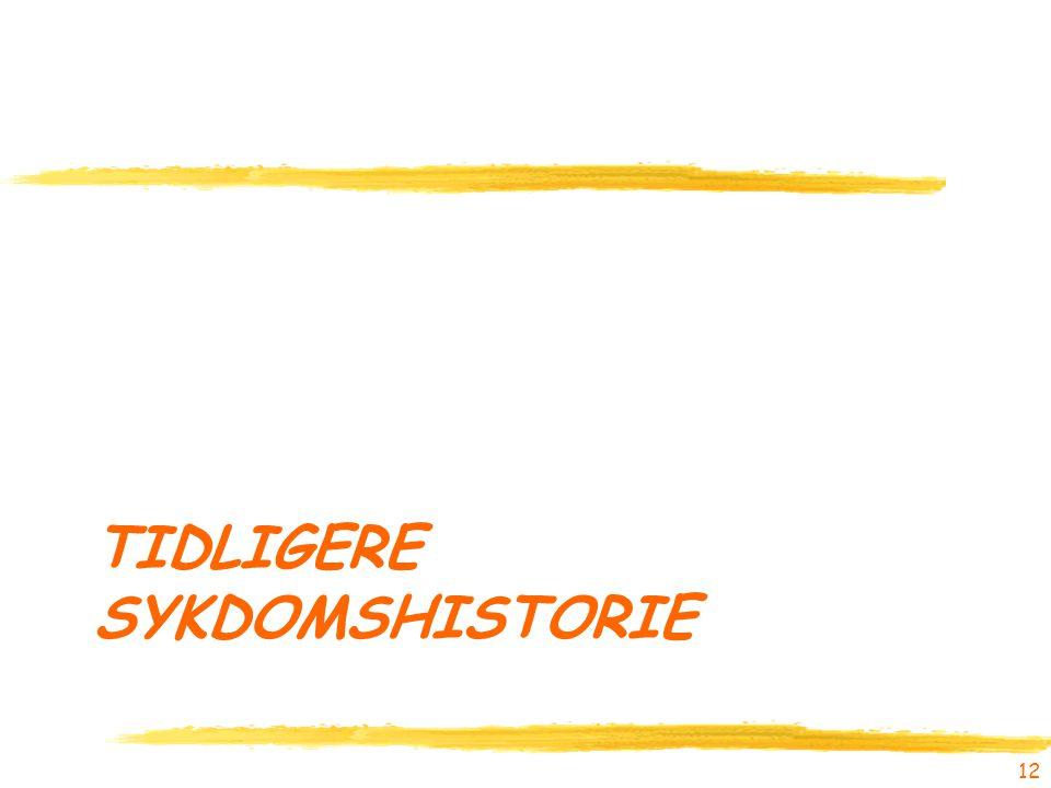 TIDLIGERE SYKDOMSHISTORIE 12